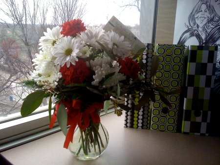 Flowers delivered to my office from Mom and Dad.