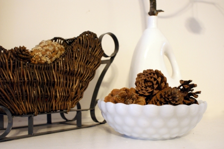 Pine cones, vintage milk glass, vintage Christmas decor