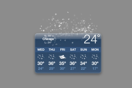 chicago snow, weather, dashboard screen shot