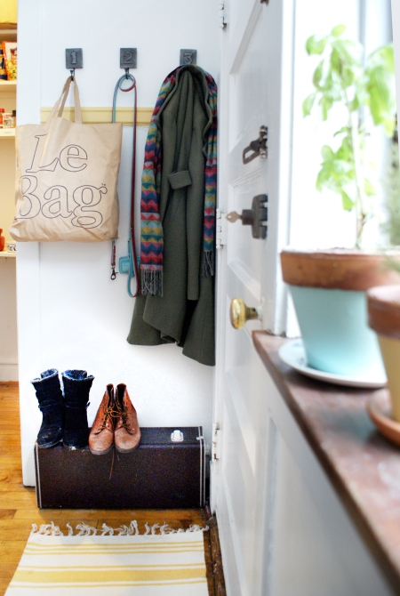 Mudroom in kitchen, Le Bag, saxaphone case