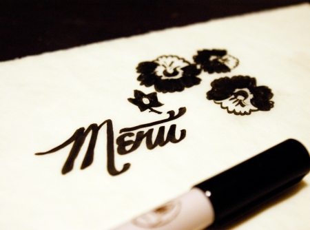 hand lettering, menu design, floral illustration, sketching