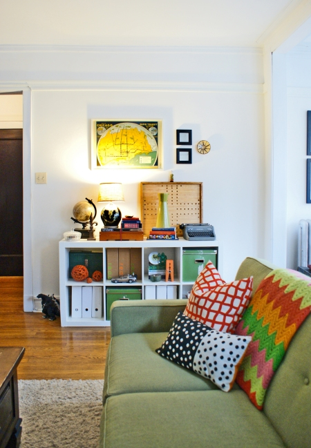Expedit bookshelf, Corona sofa, green sofa, vintage Chicago apartment